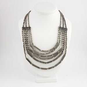 VTG International Silver Beaded Layered Necklace